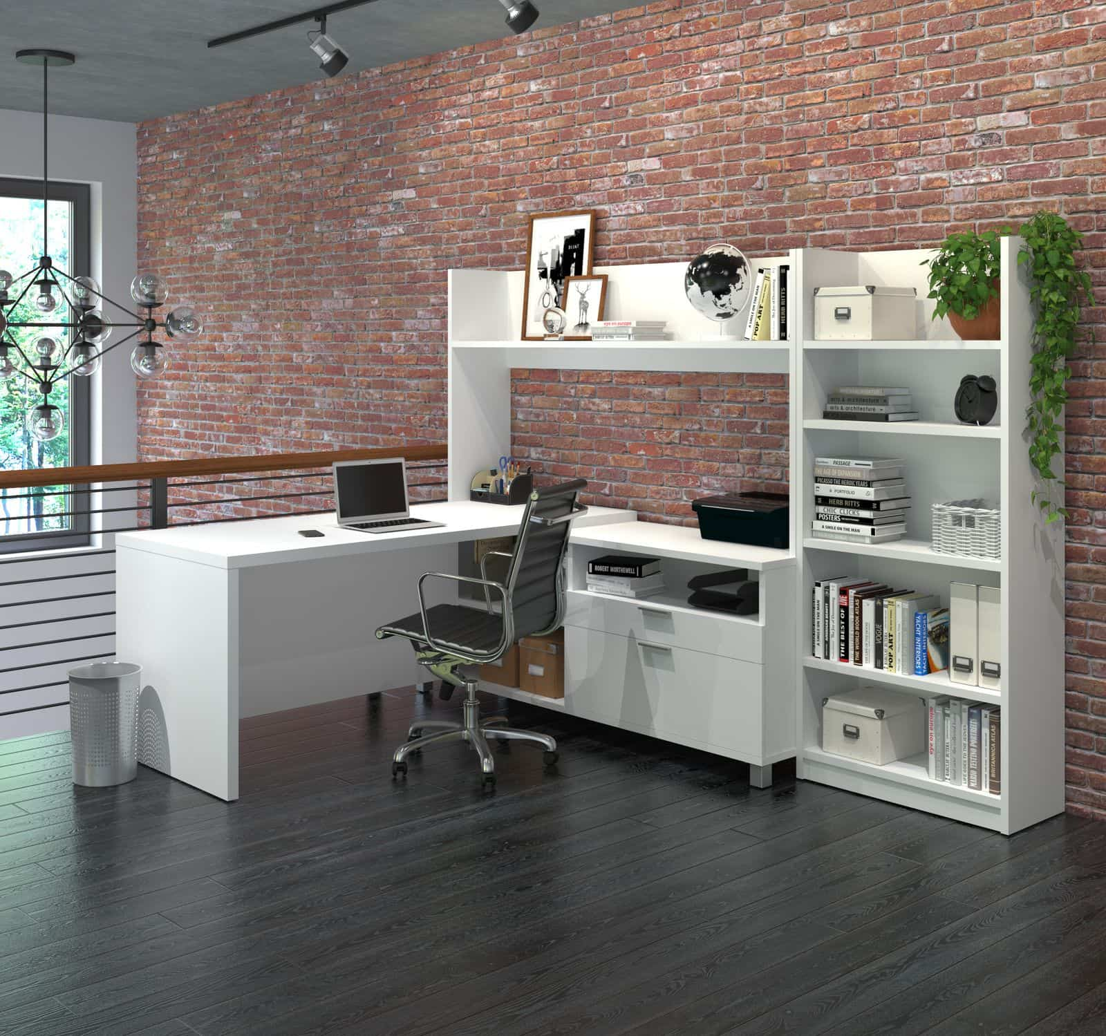 Bestar L-shaped desk with bookcase