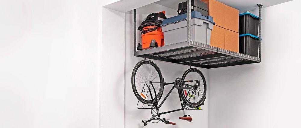 Ceiling shelf for garage with bike storage