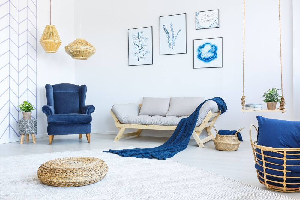 Living room refreshed with a bold blue armchair