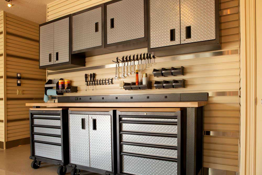 Garage storage with metal cabinetry