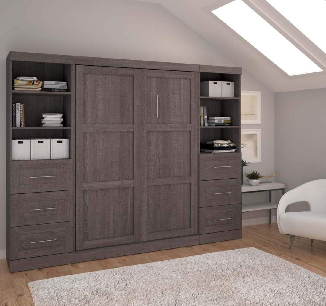 grey wall bed with storage cabinets