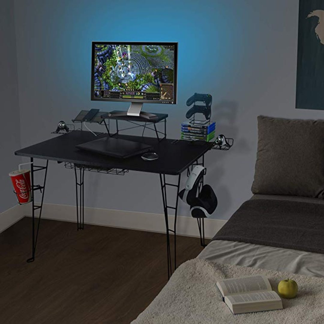 gaming desk multi function blue light