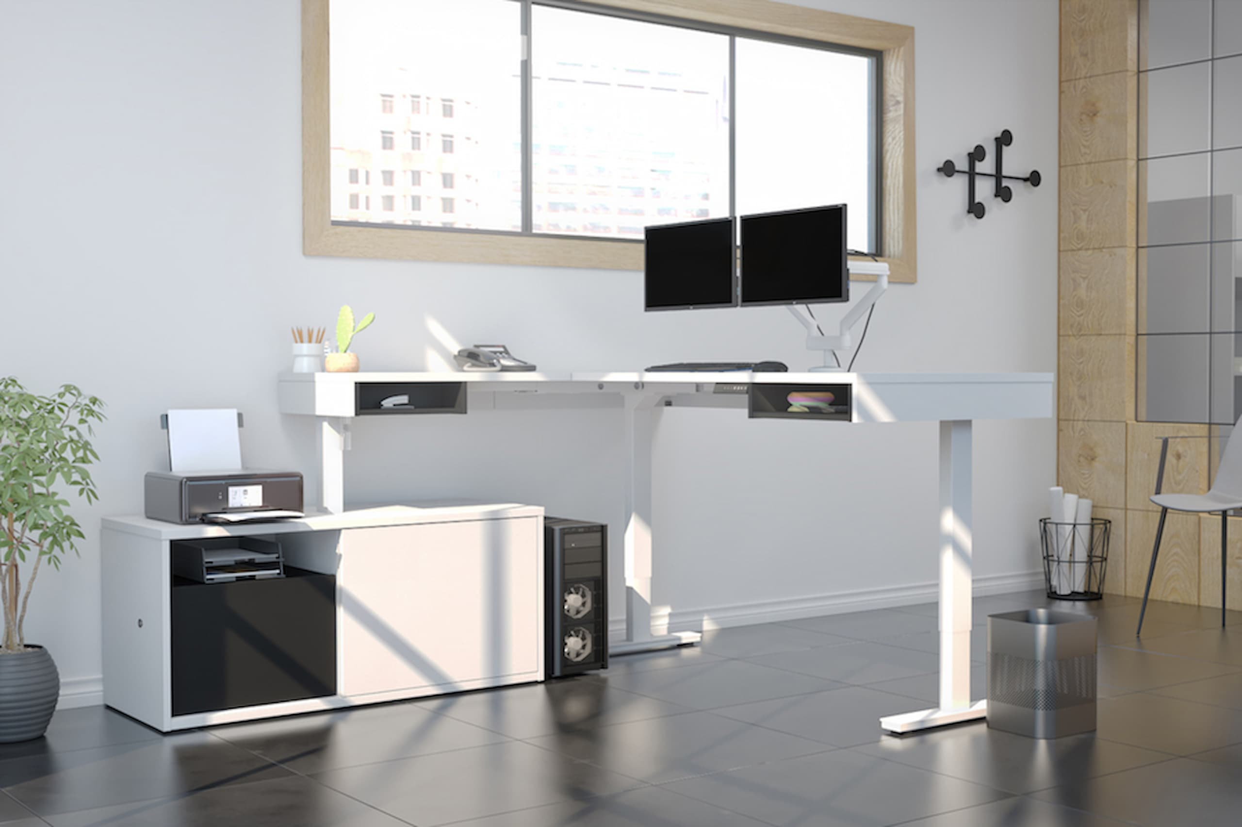 desk with 2 monitor arms