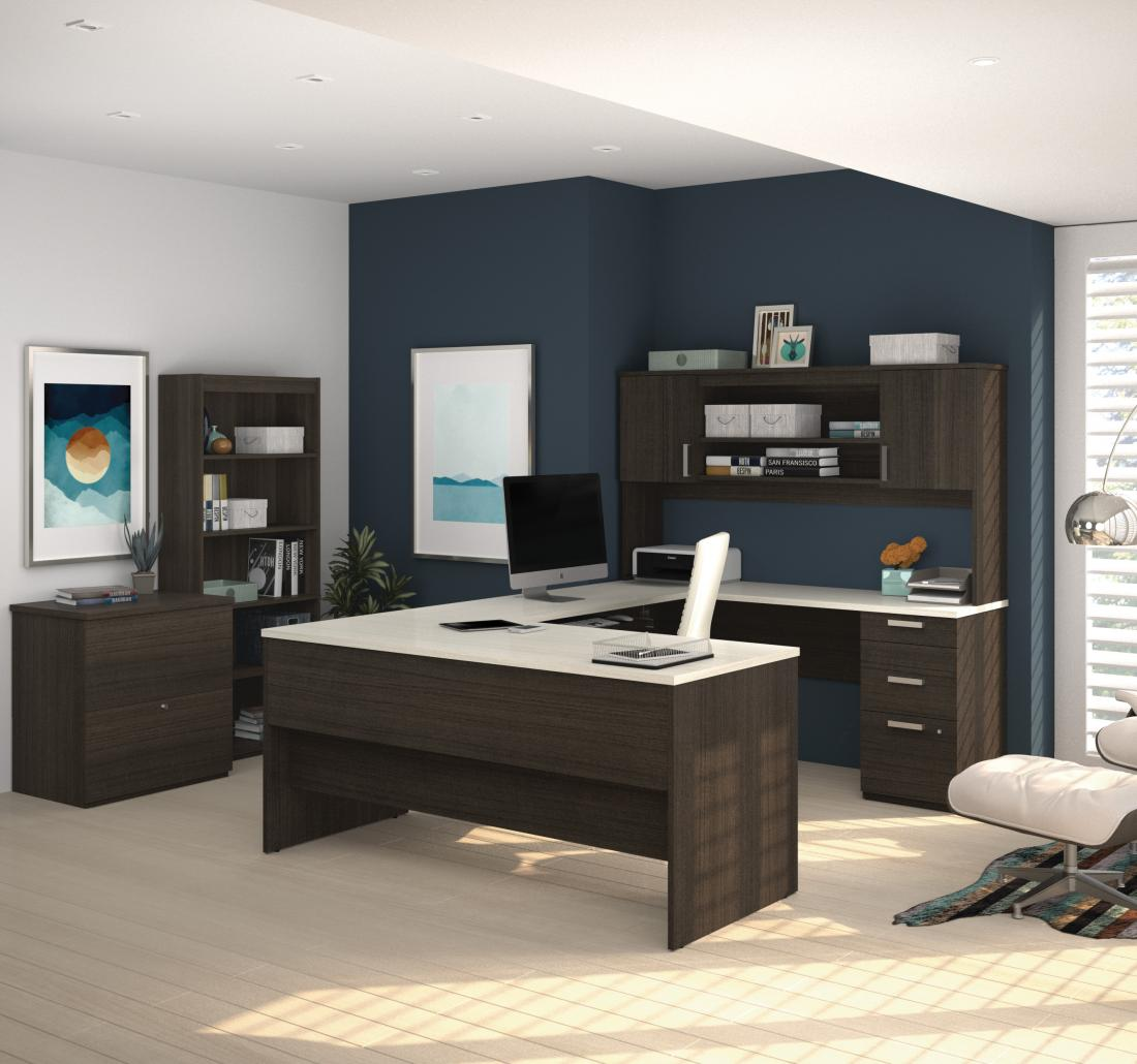 3-Piece set including a U-shaped desk with hutch, a lateral file cabinet, and a bookcase