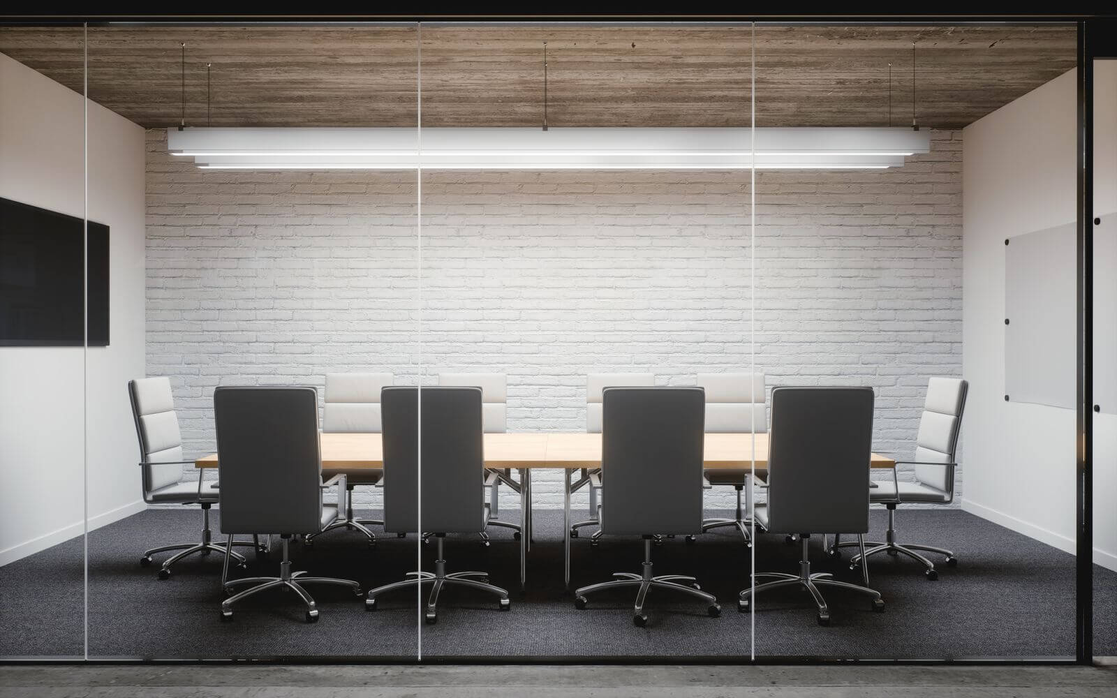 Conference room with glass walls