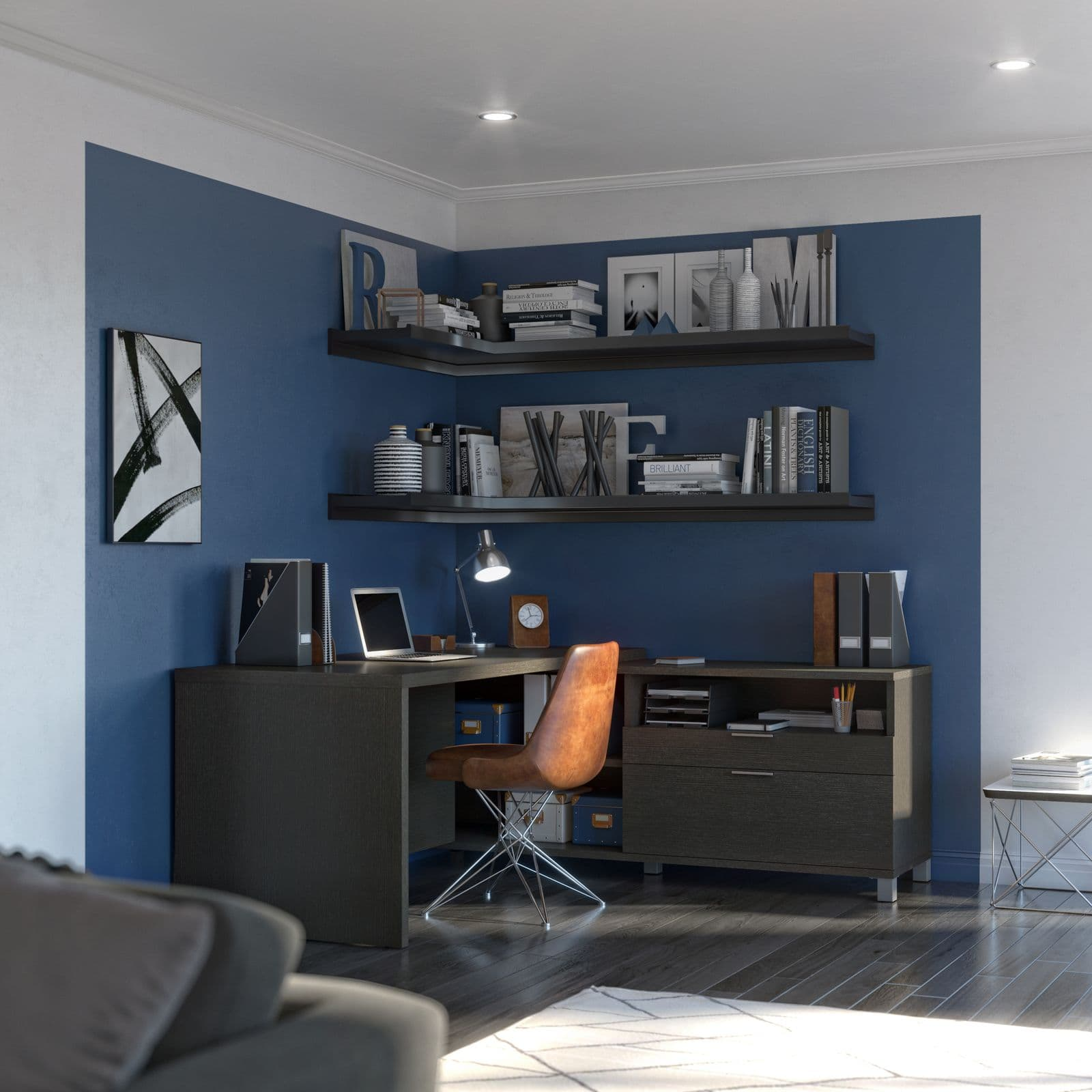 Bestar L-shaped desk with an accent wall