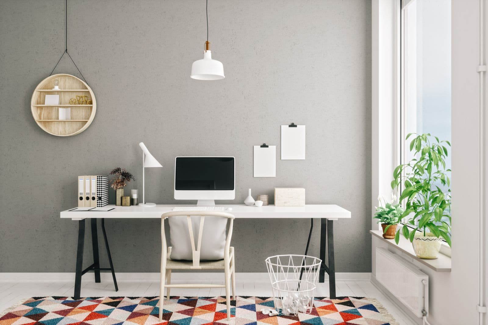 Home office with a colorful rug