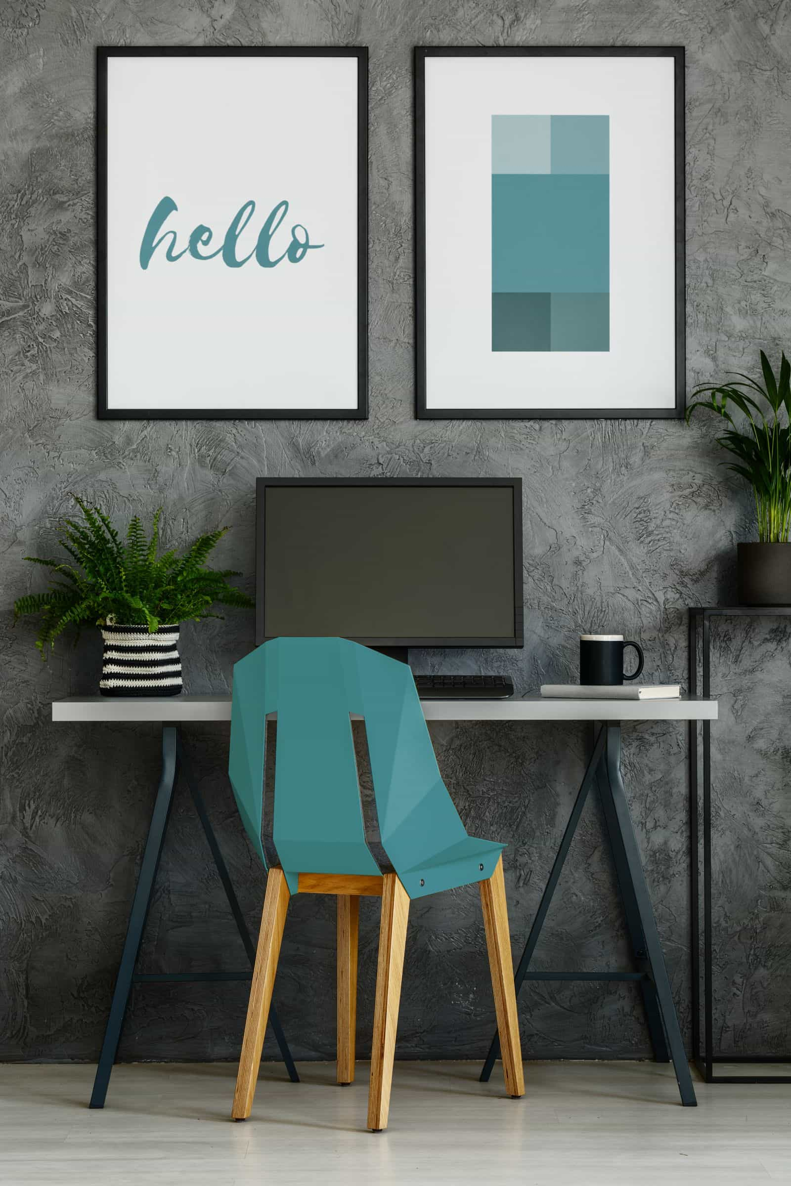 Colorful home office with turquoise chair