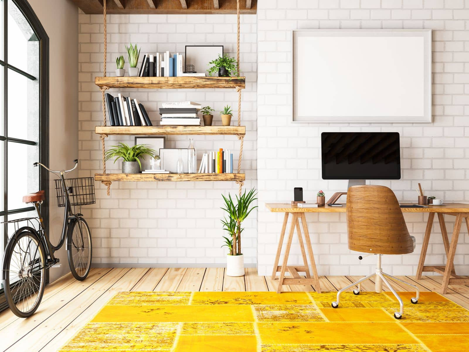 Modern home office with yellow accent rug