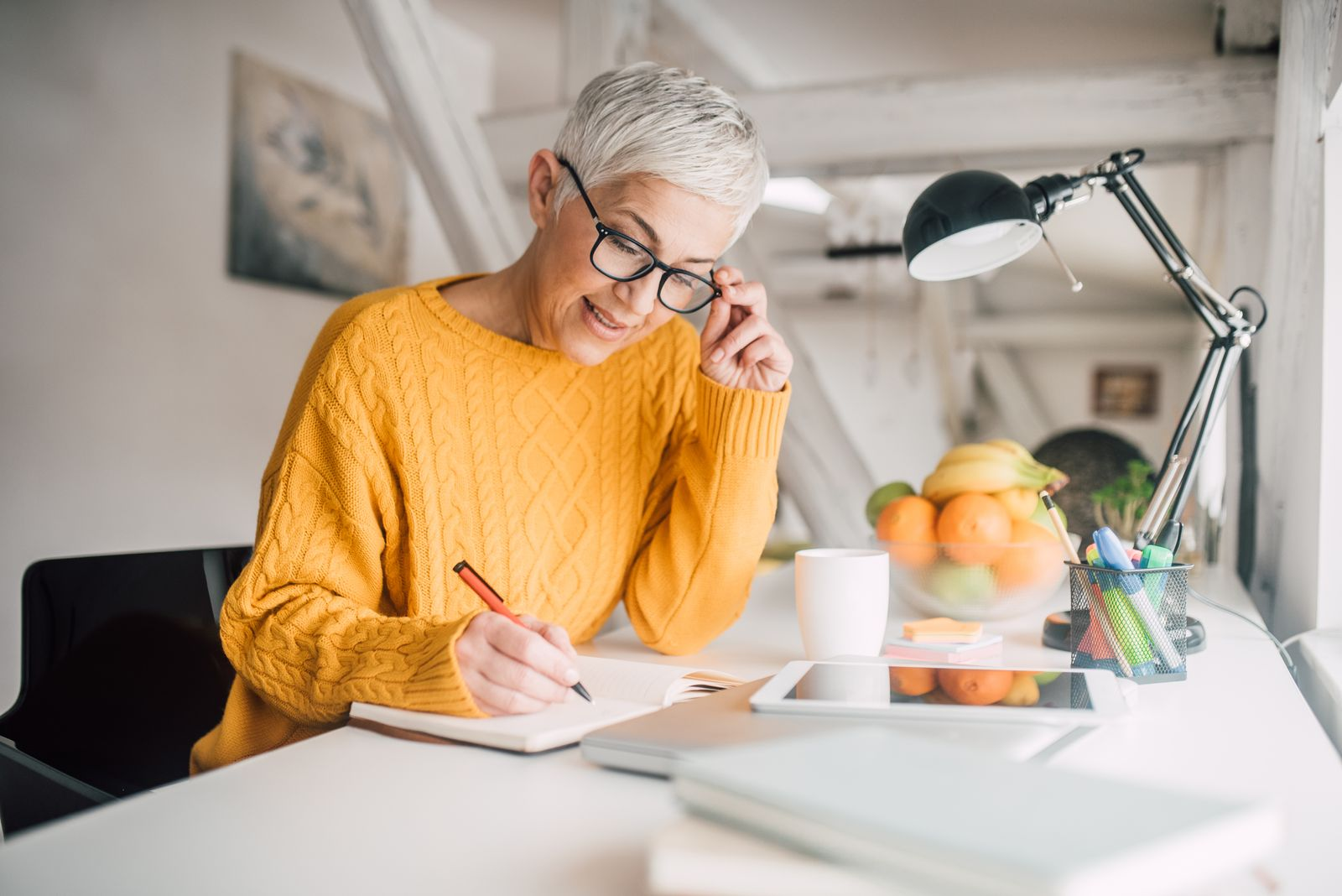 Older woman who works from home