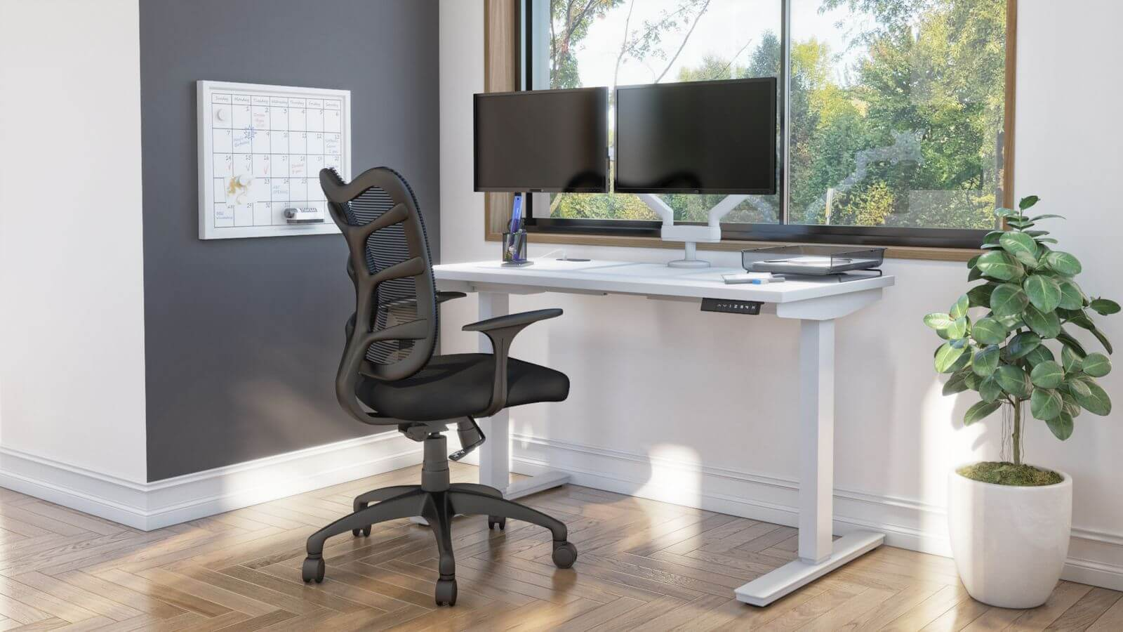 Bestar standing desk with monitor arms