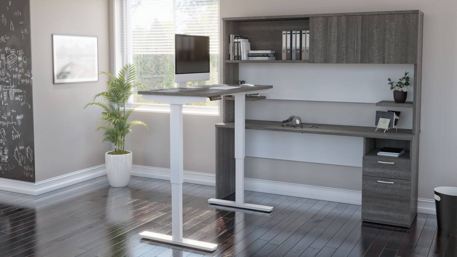 Bestar L-Shaped Standing Desk in Home Office