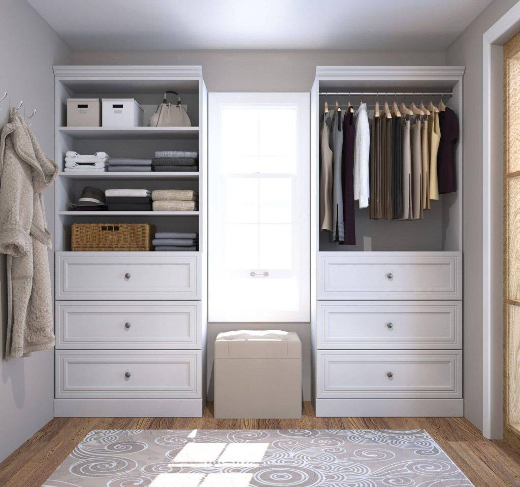 Walk-in closet with Bestar closet organizer