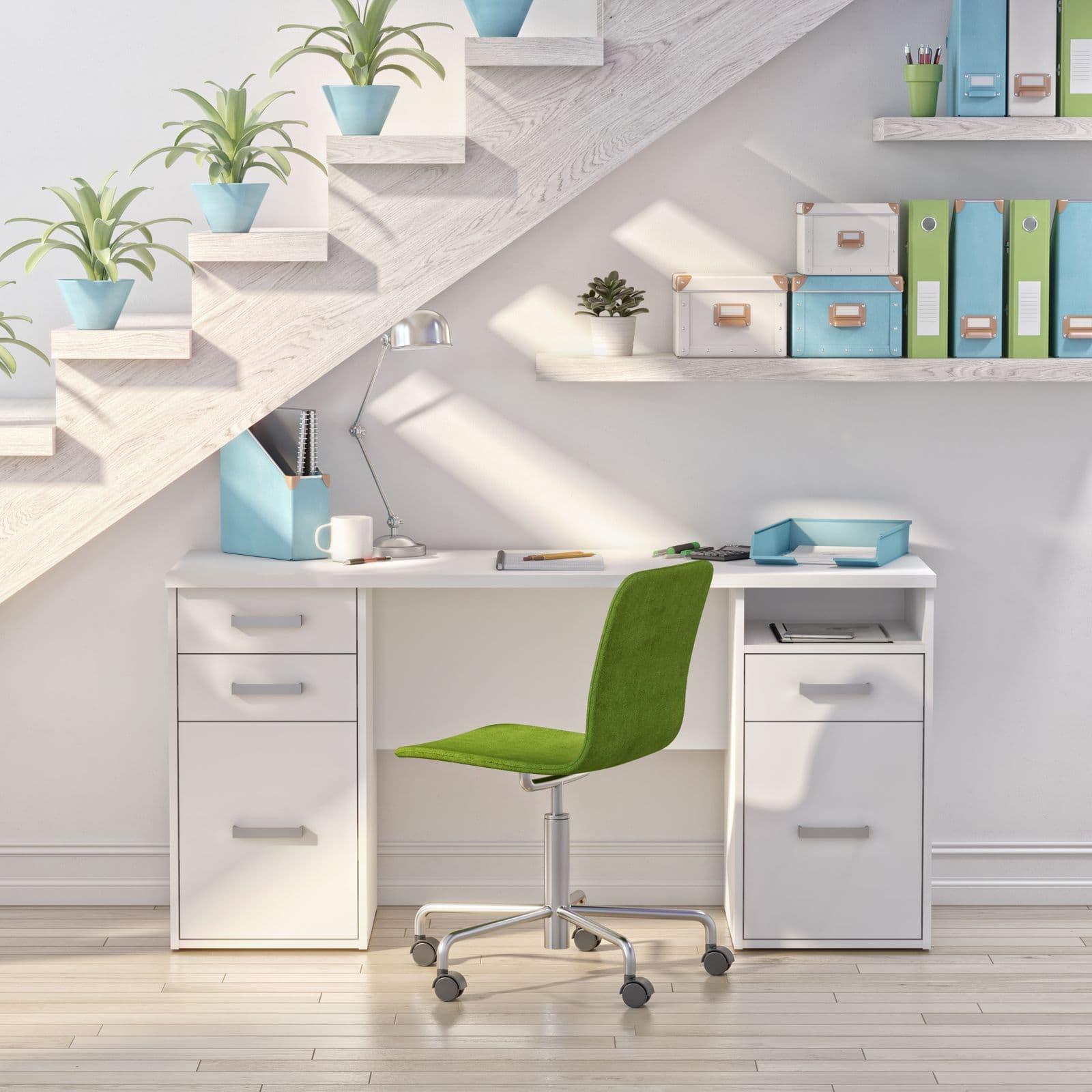 Bestar small desk under stairs