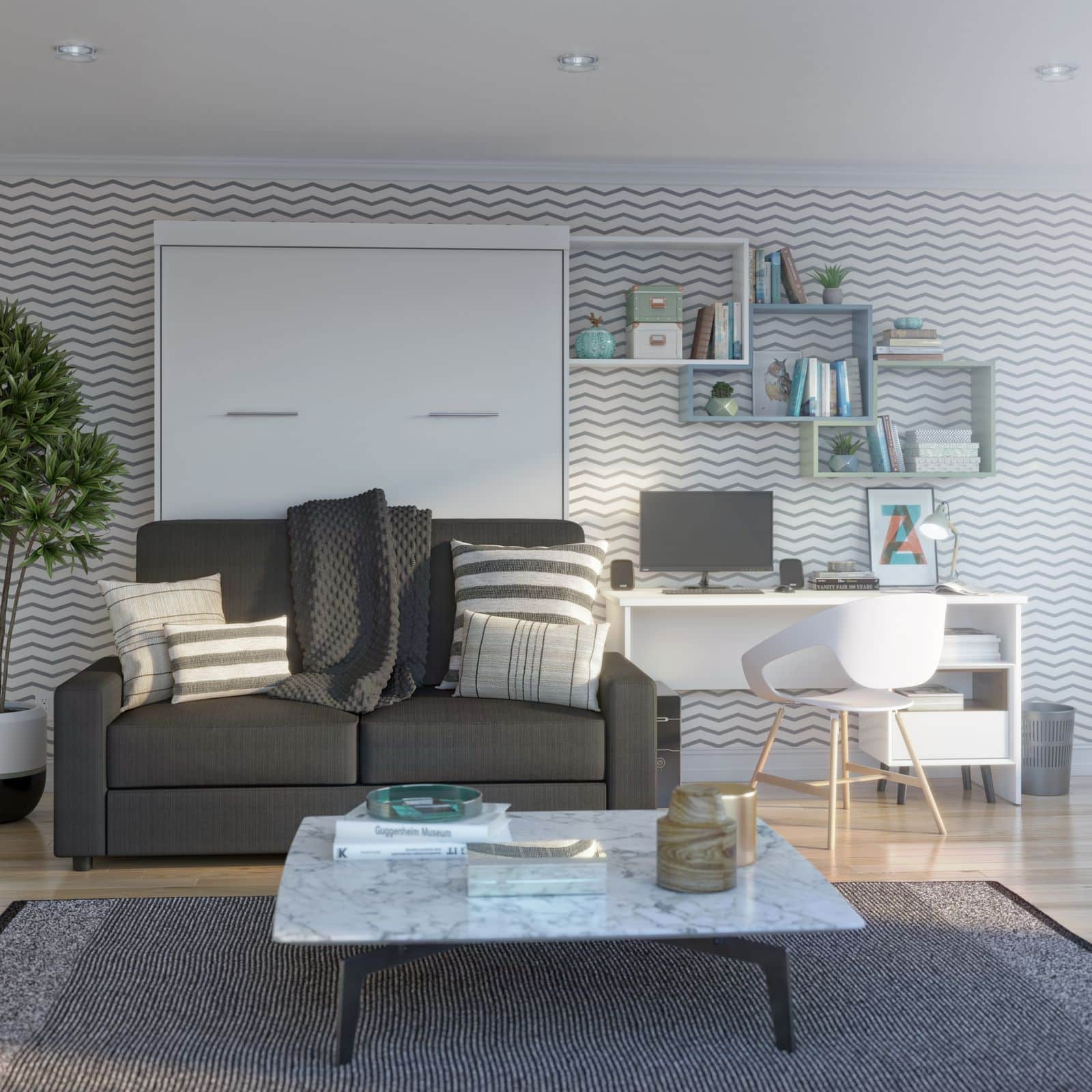 Home office with Bestar Murphy bed and sofa