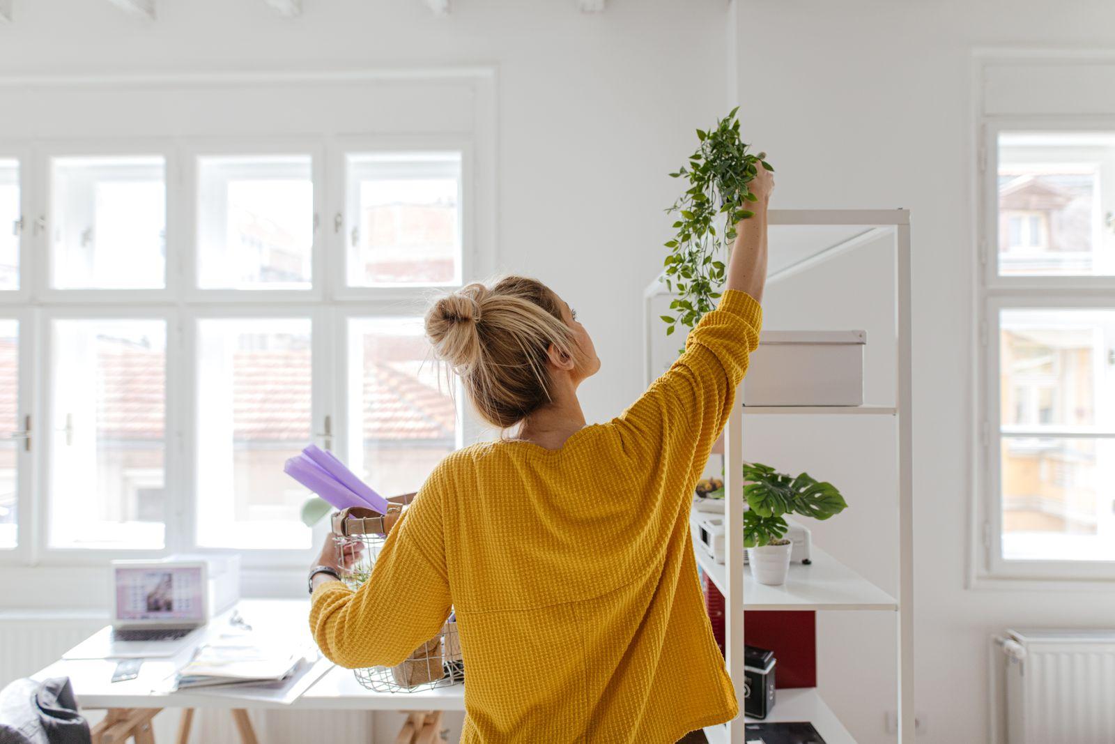 Femme qui decor son espace de travail