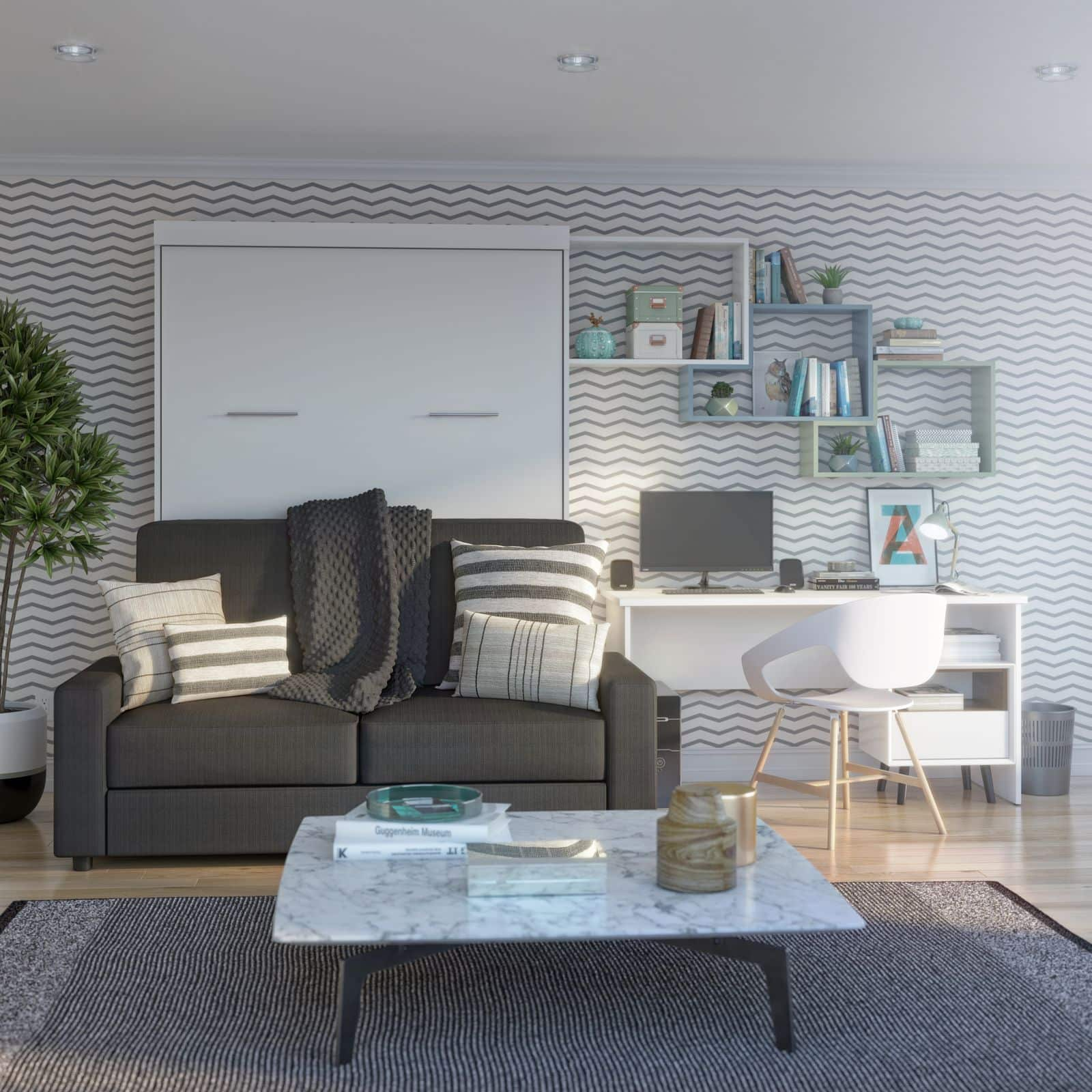 Multipurpose home office with Bestar desk and Murphy bed with sofa