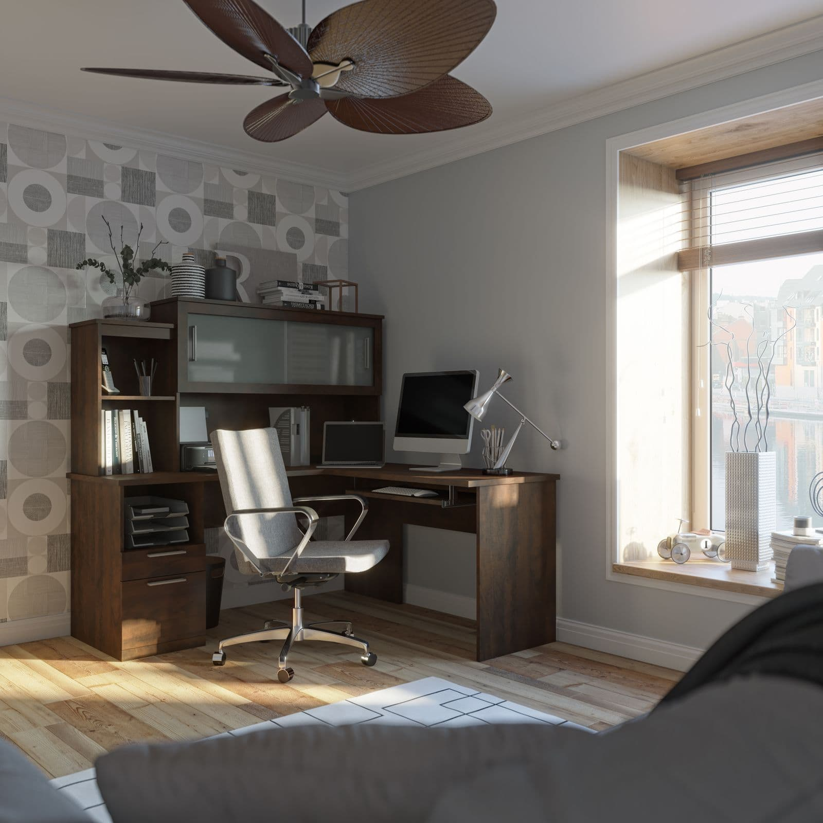 Home office with Bestar L shaped desk
