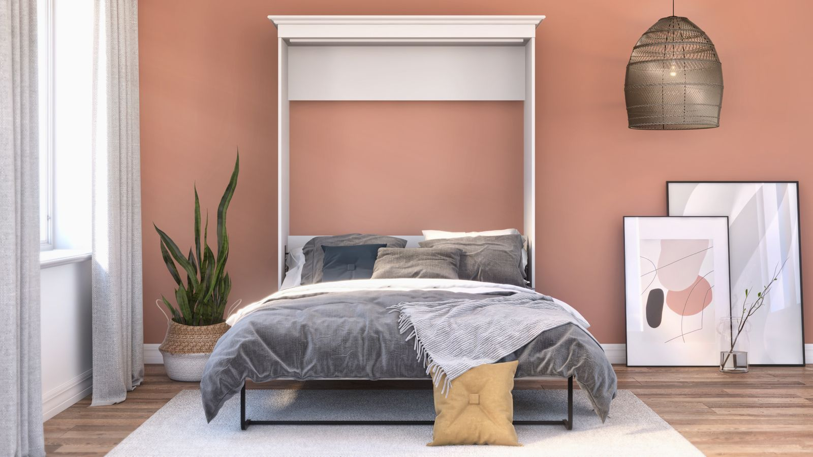Chambre contemporaine avec un mur corail