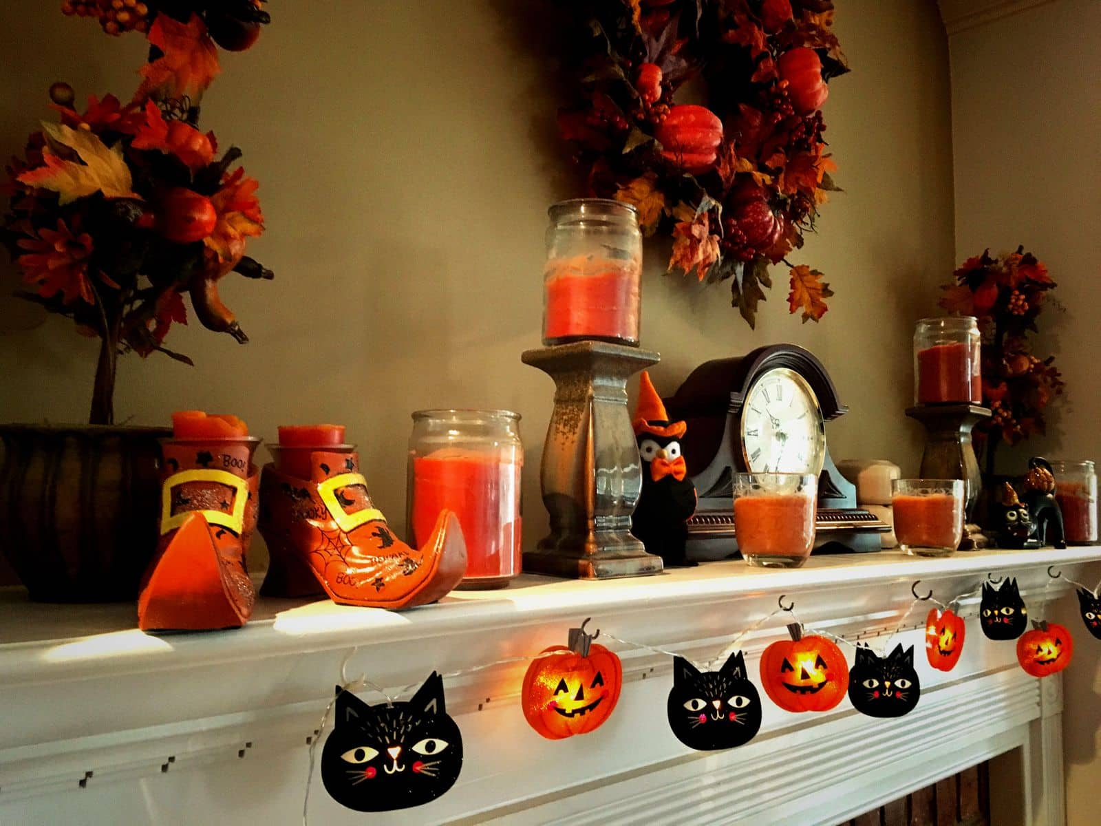 Fireplace mantel decorated for Halloween