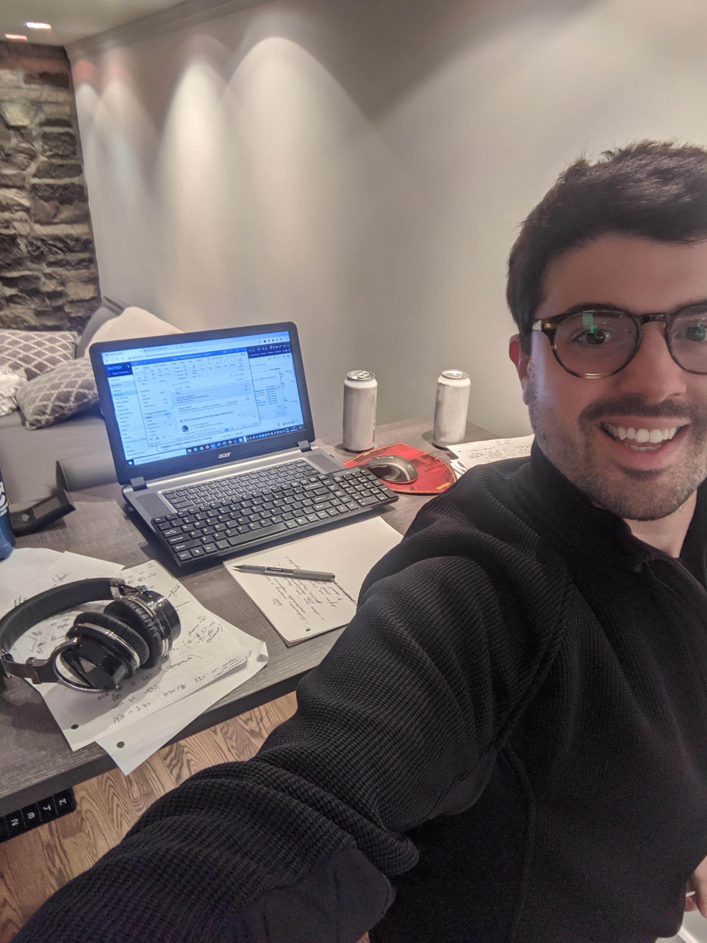 Man working on Standing Desk