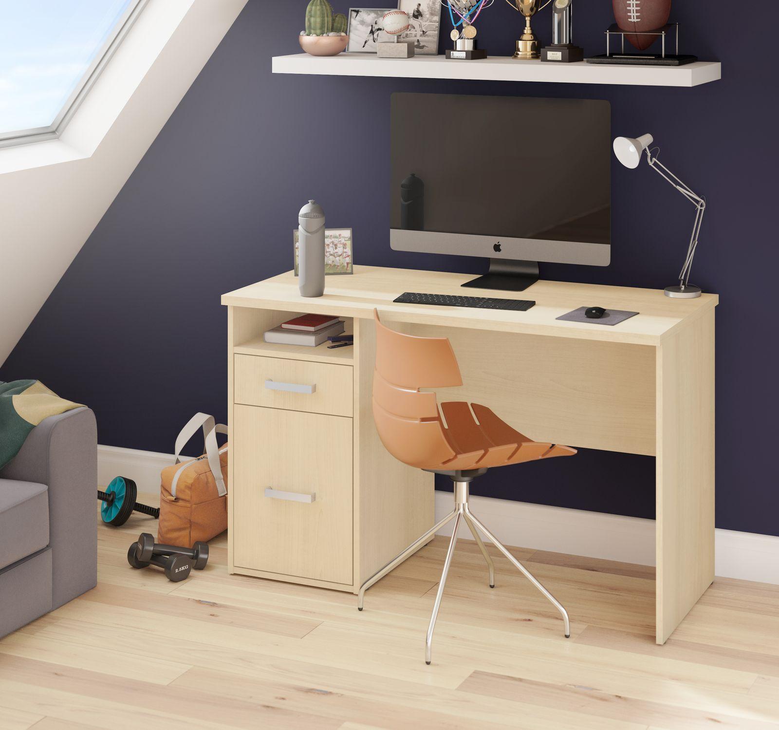Petit bureau avec mur blue foncé