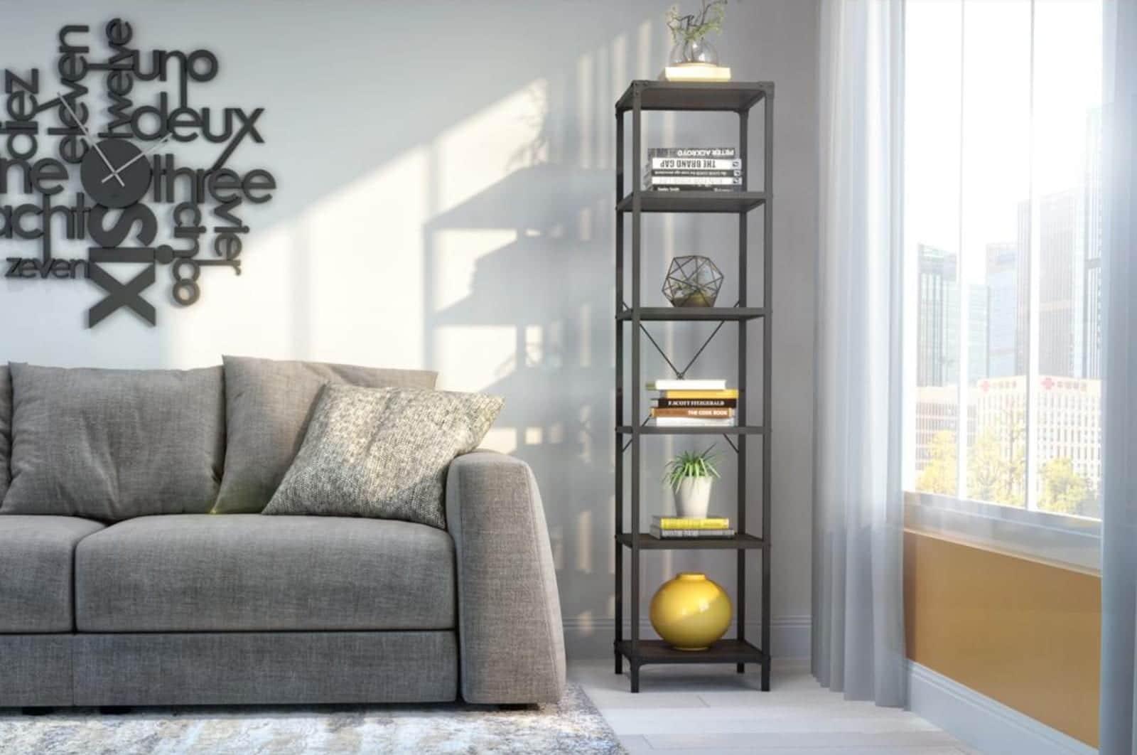 Salon avec une étagère étroite Bestar
