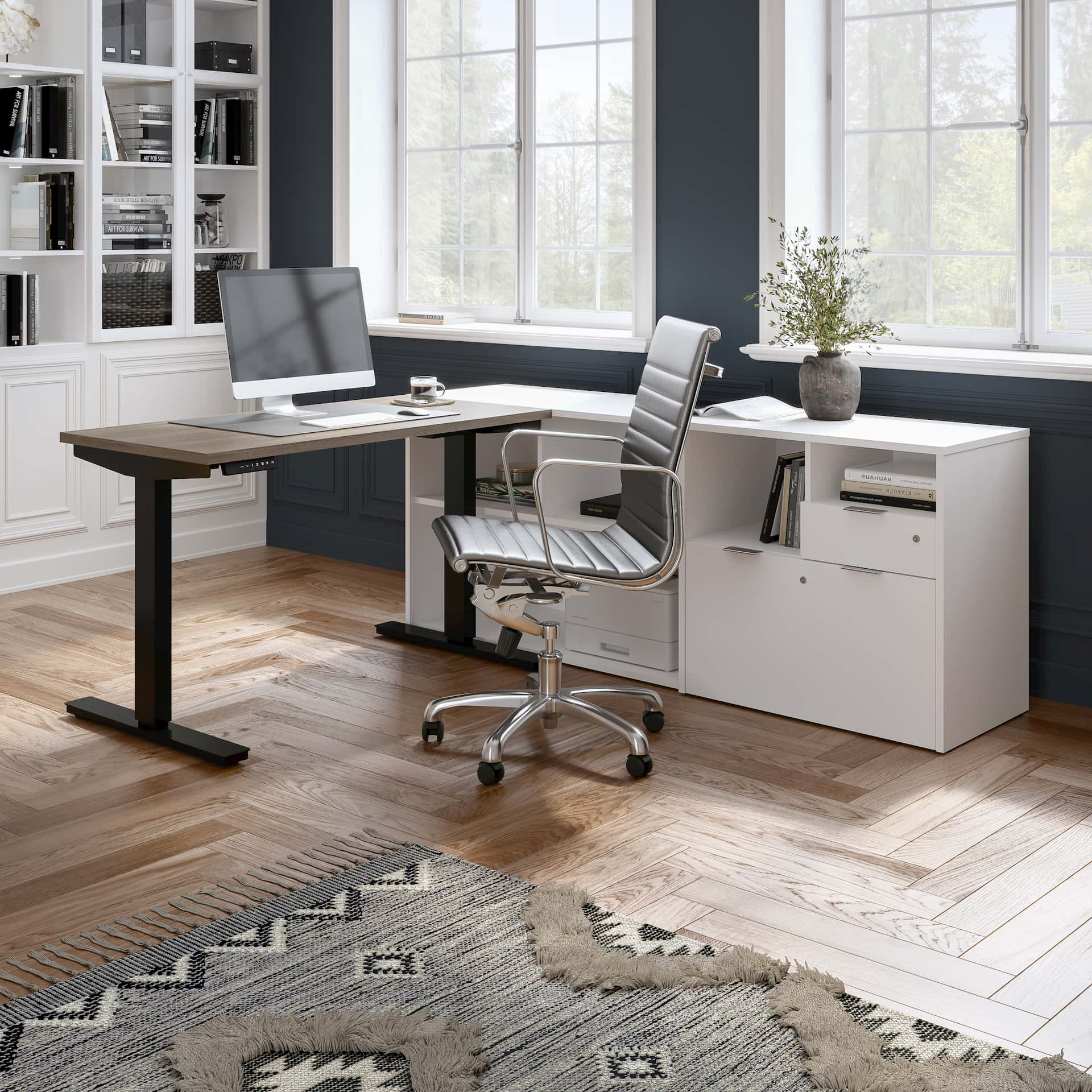 Home office with a Bestar L-Shaped Standing Desk