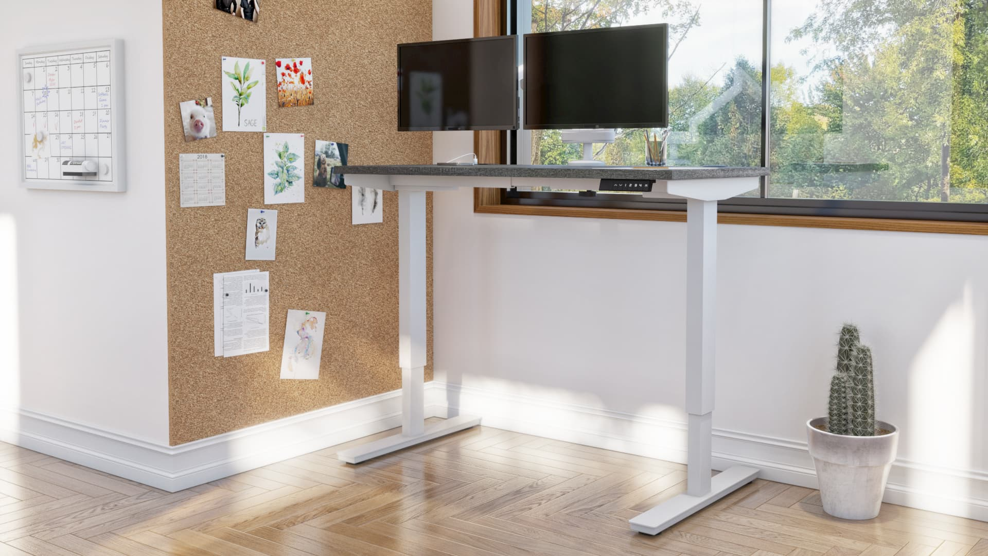 Bureau assis-debout Bestar dans un bureau à domicile lumineux