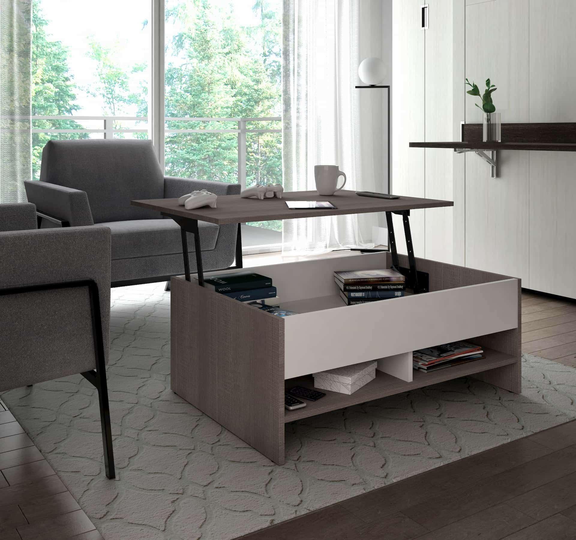 Table à café contemporaine avec plateau relevable espace fonctionnel