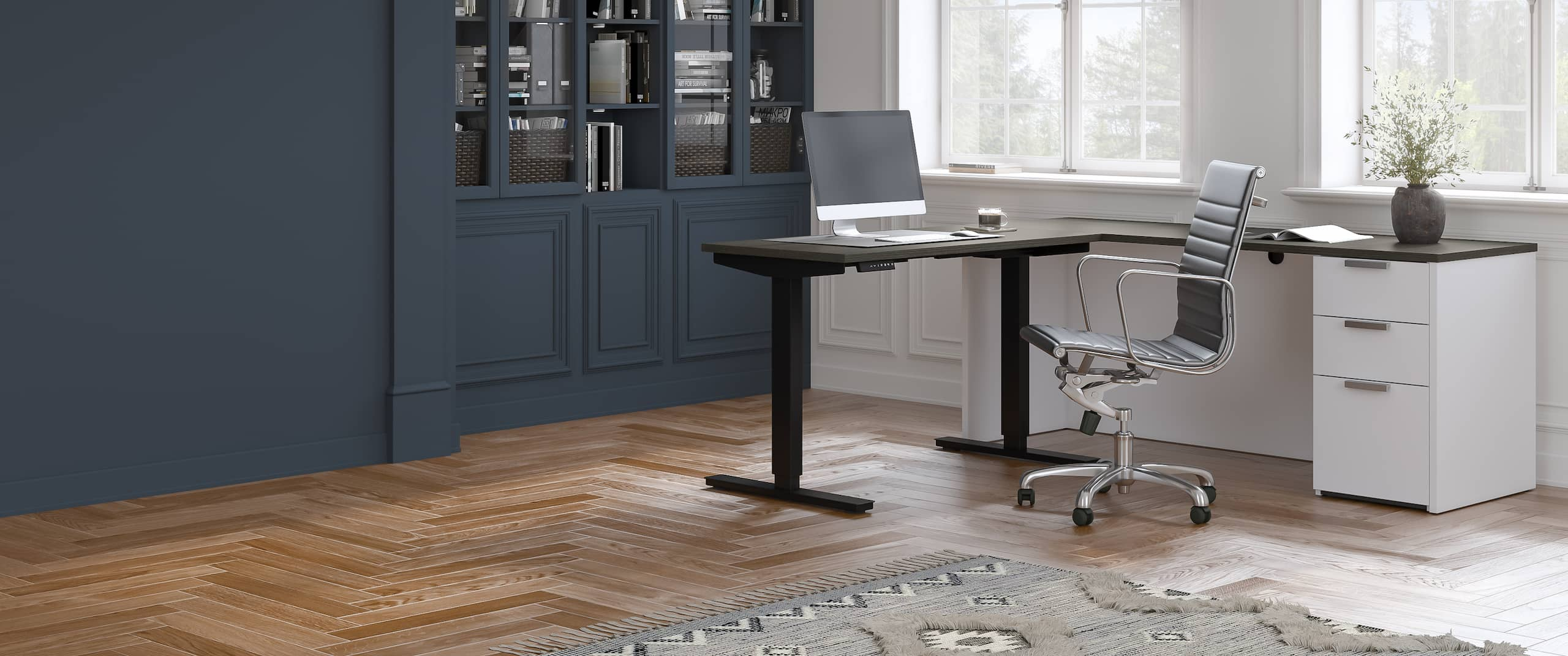L-Shaped Standing Desk with Pedestal