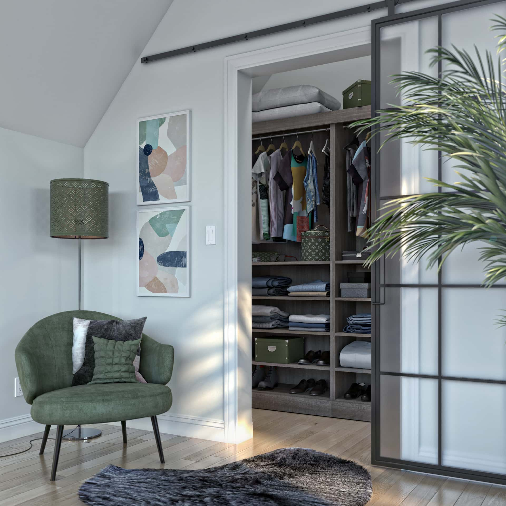 closet cabinet with door and plants