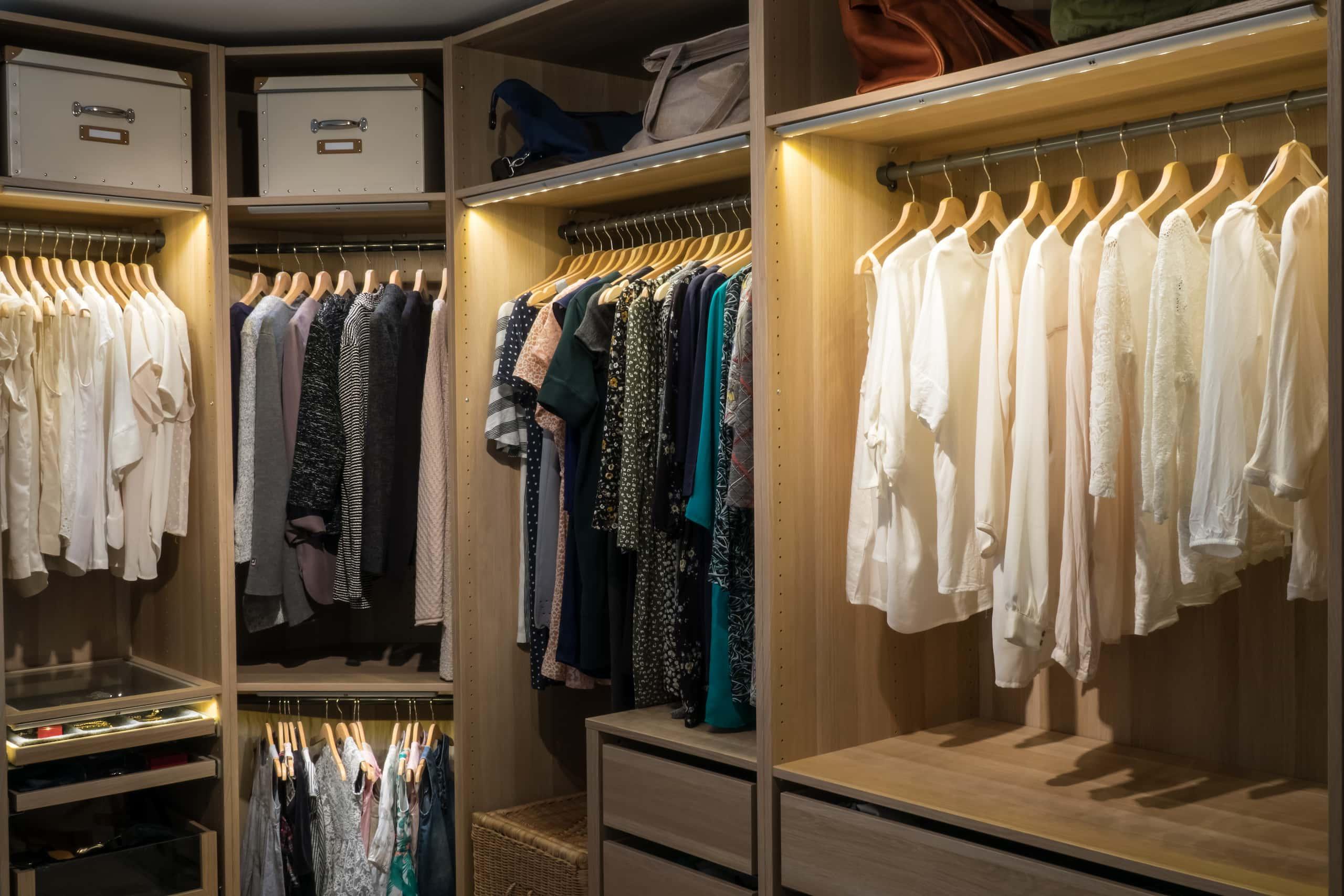 fancy closet with lighting