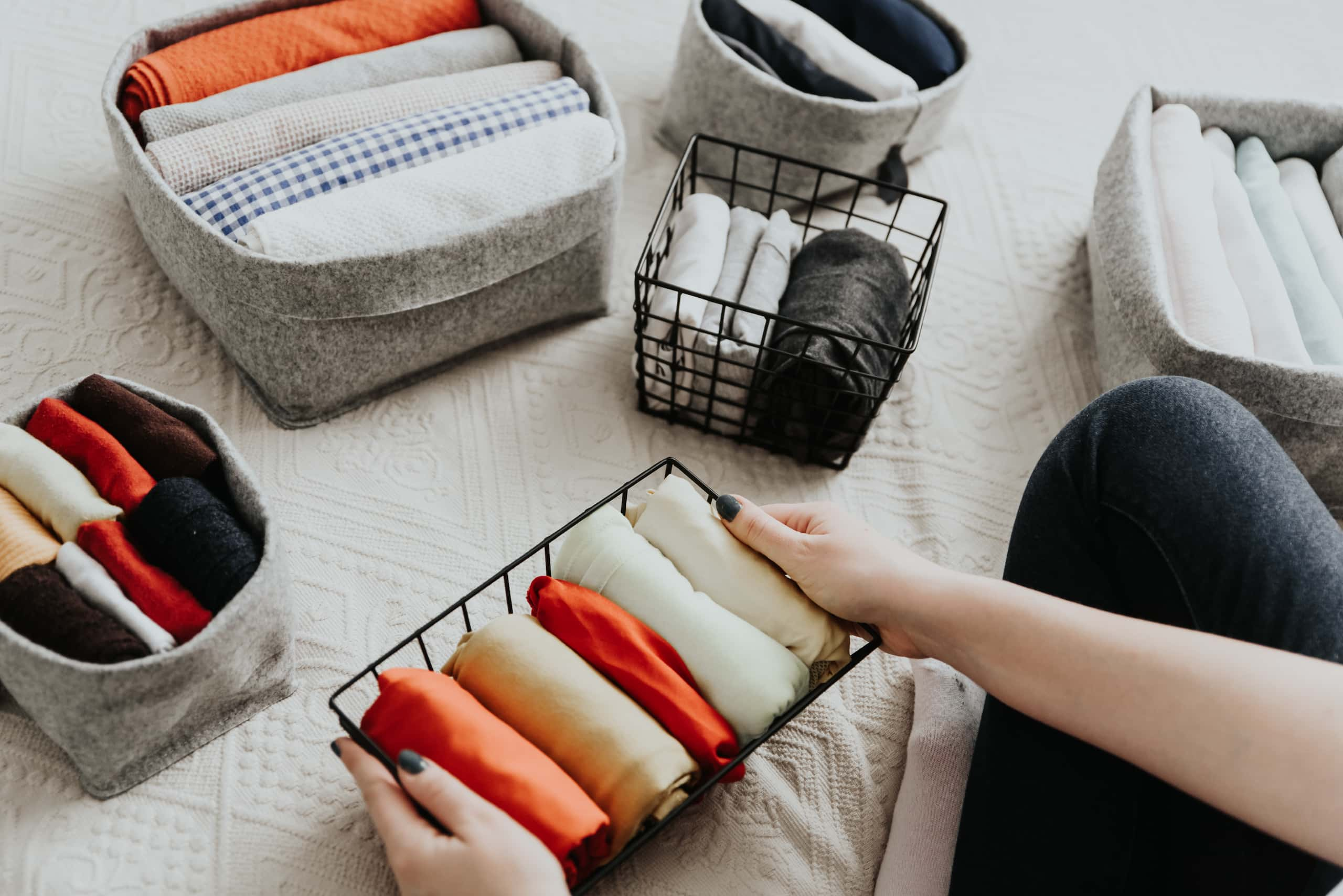 folding clothes small baskets