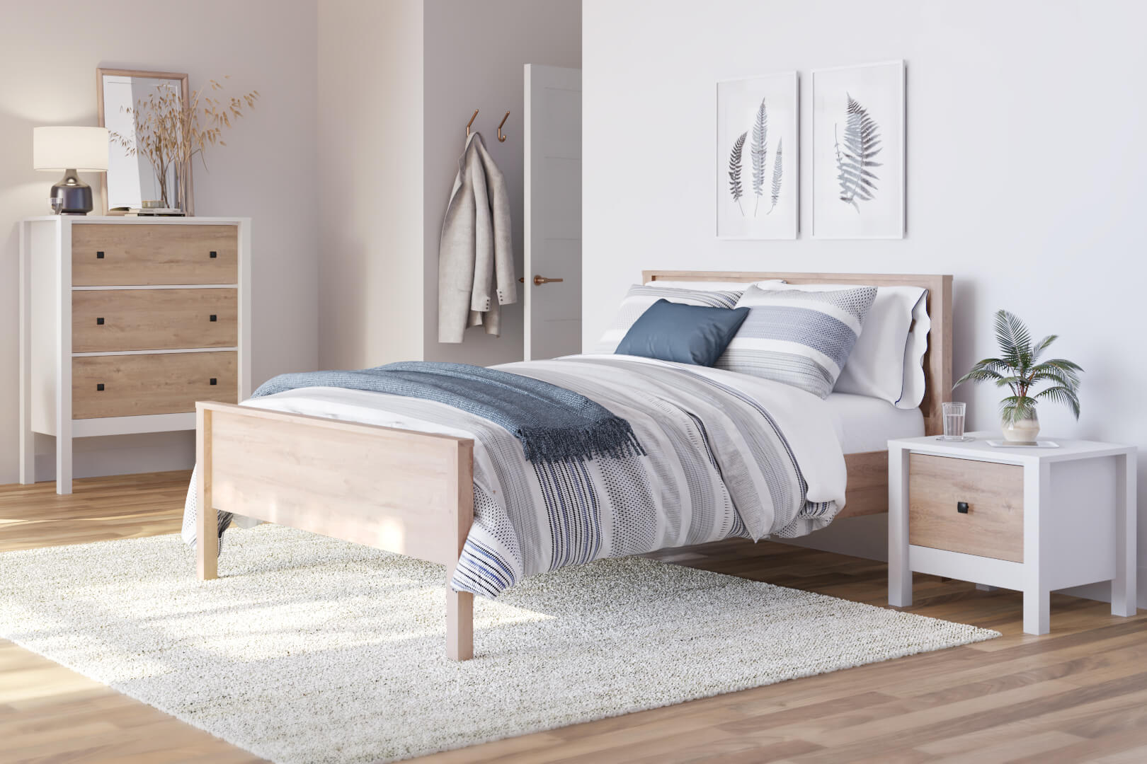 bedroom with bed, nightstand and storage