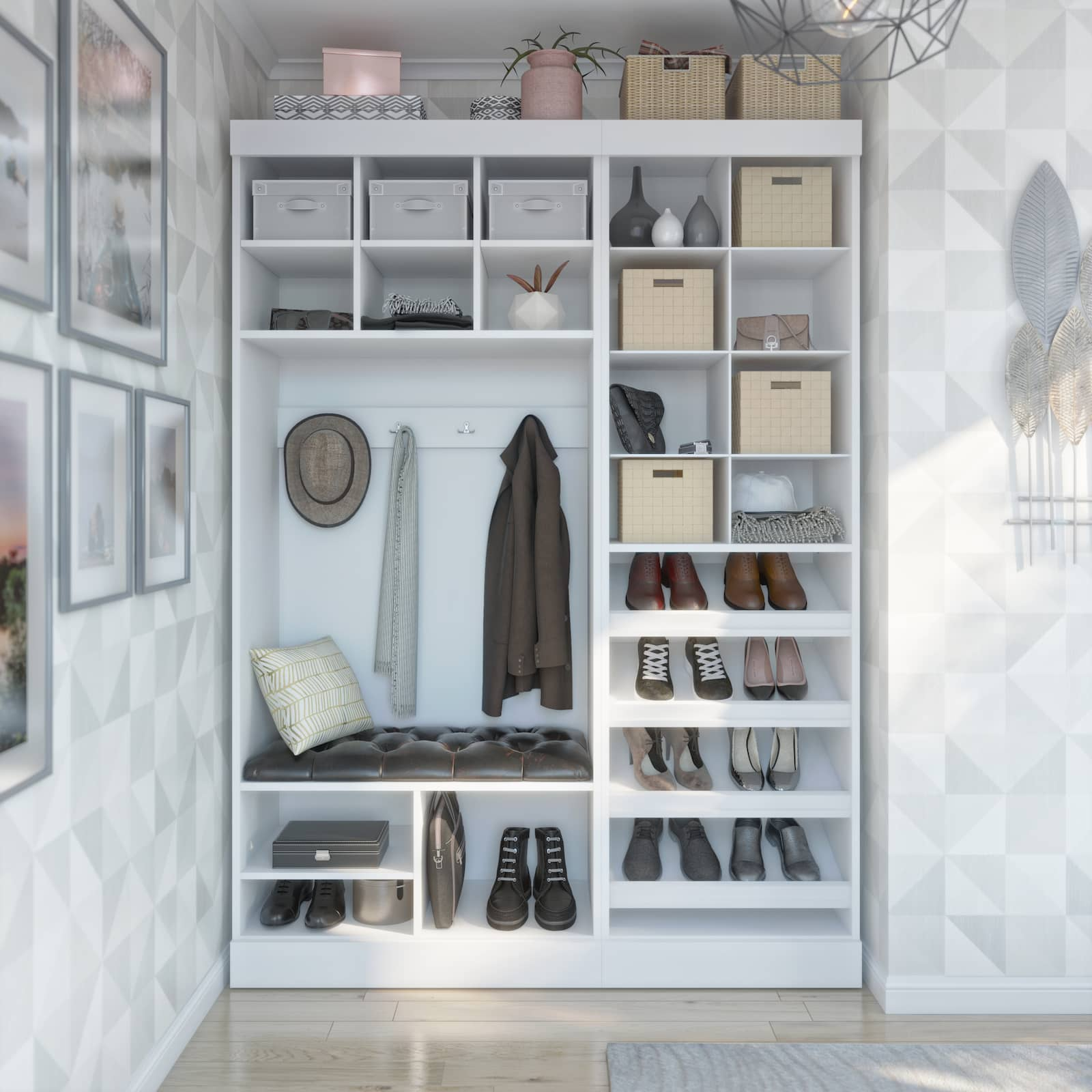 mudroom storage with coats, hooks, and and shoes