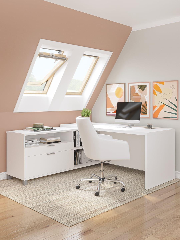 72W L-Shaped Office Desk