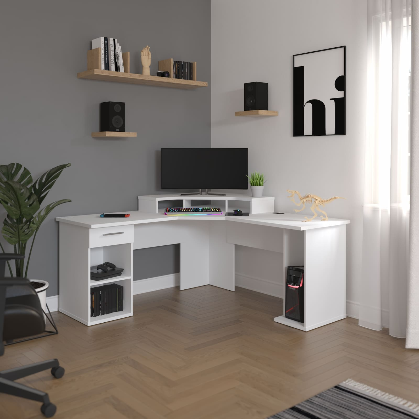 white corner desk with monitor and decorations and grey and white walls