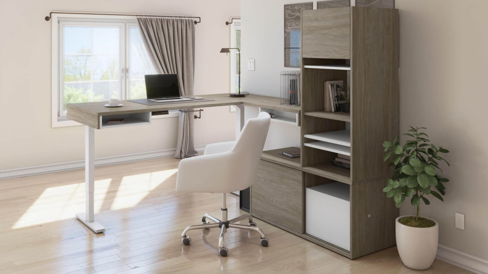 standing l-shaped desk with office furniture storage