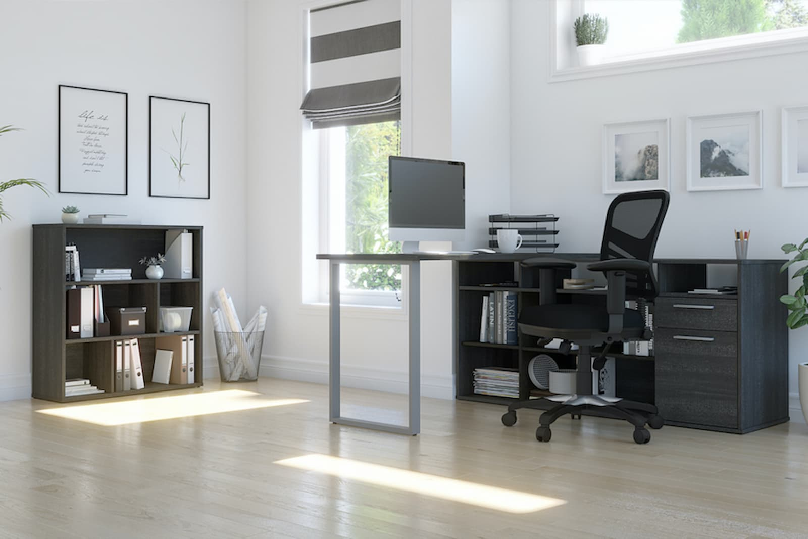 l-shaped desk with table desk and storage unit