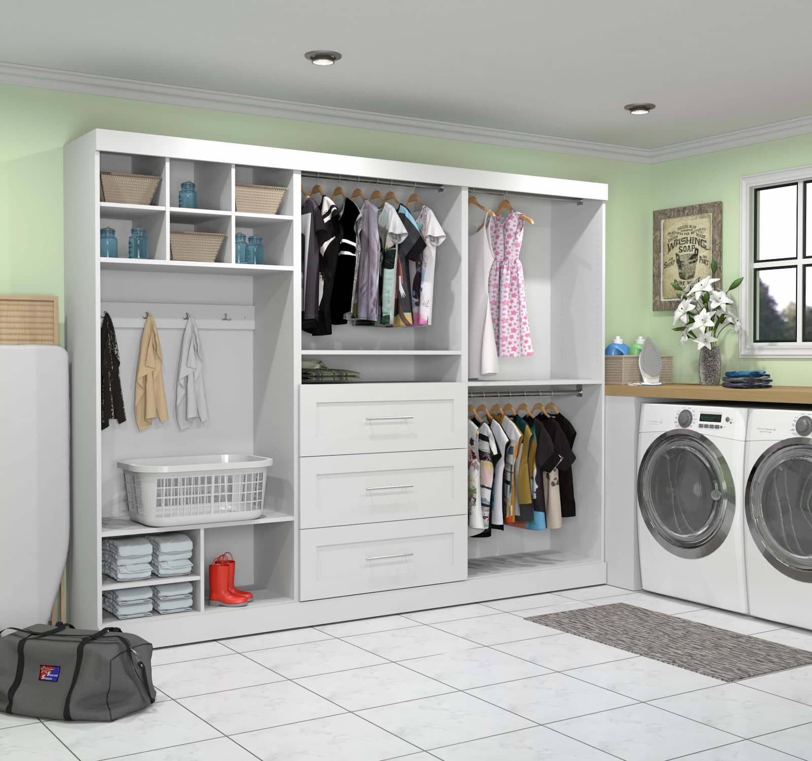 white closet organizer in laundry room with clothes and washer and dryer