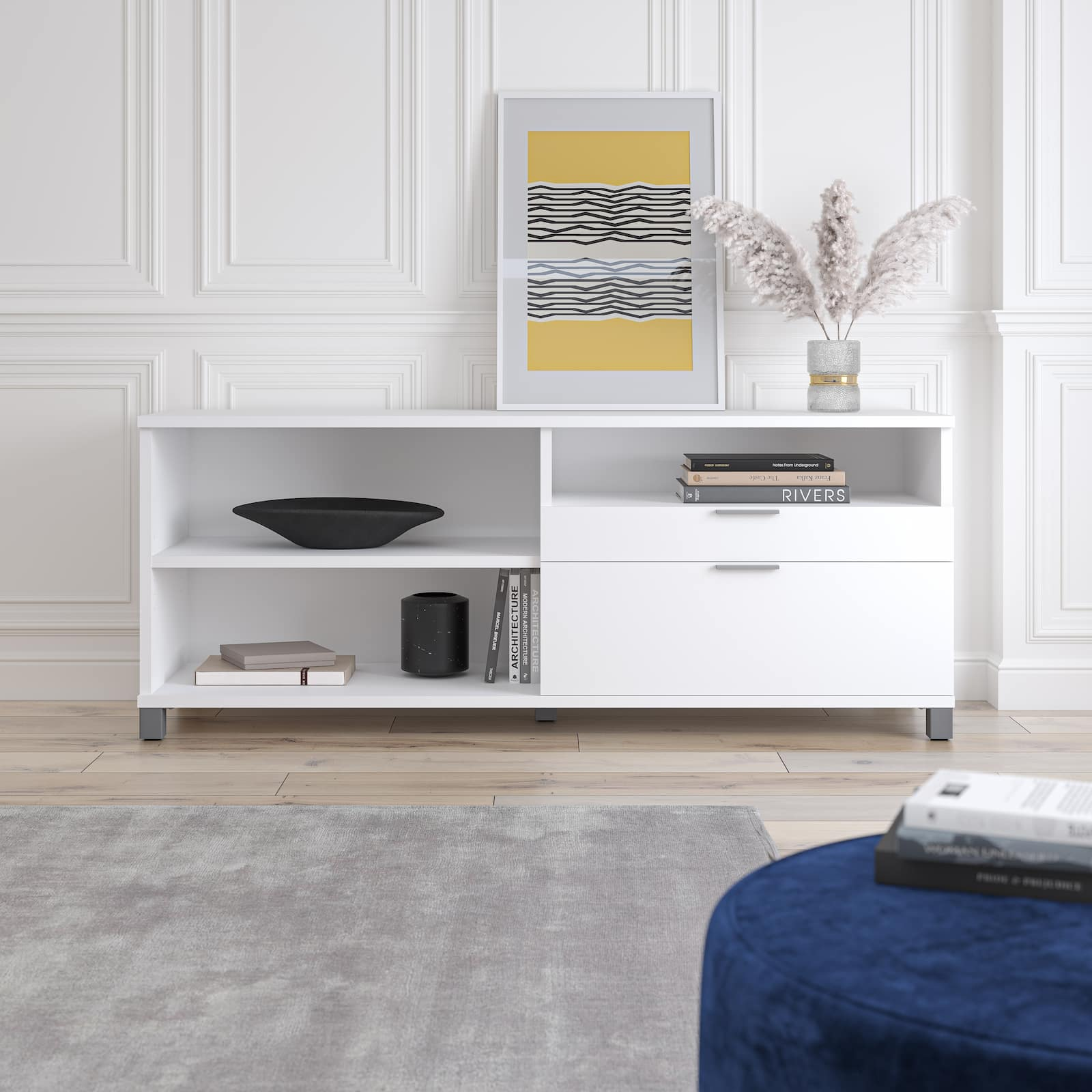 white credenza with decorations
