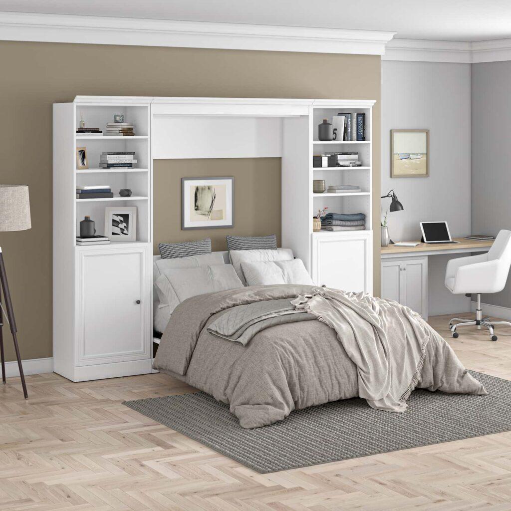 lit escamotable blanc avec un petit bureau