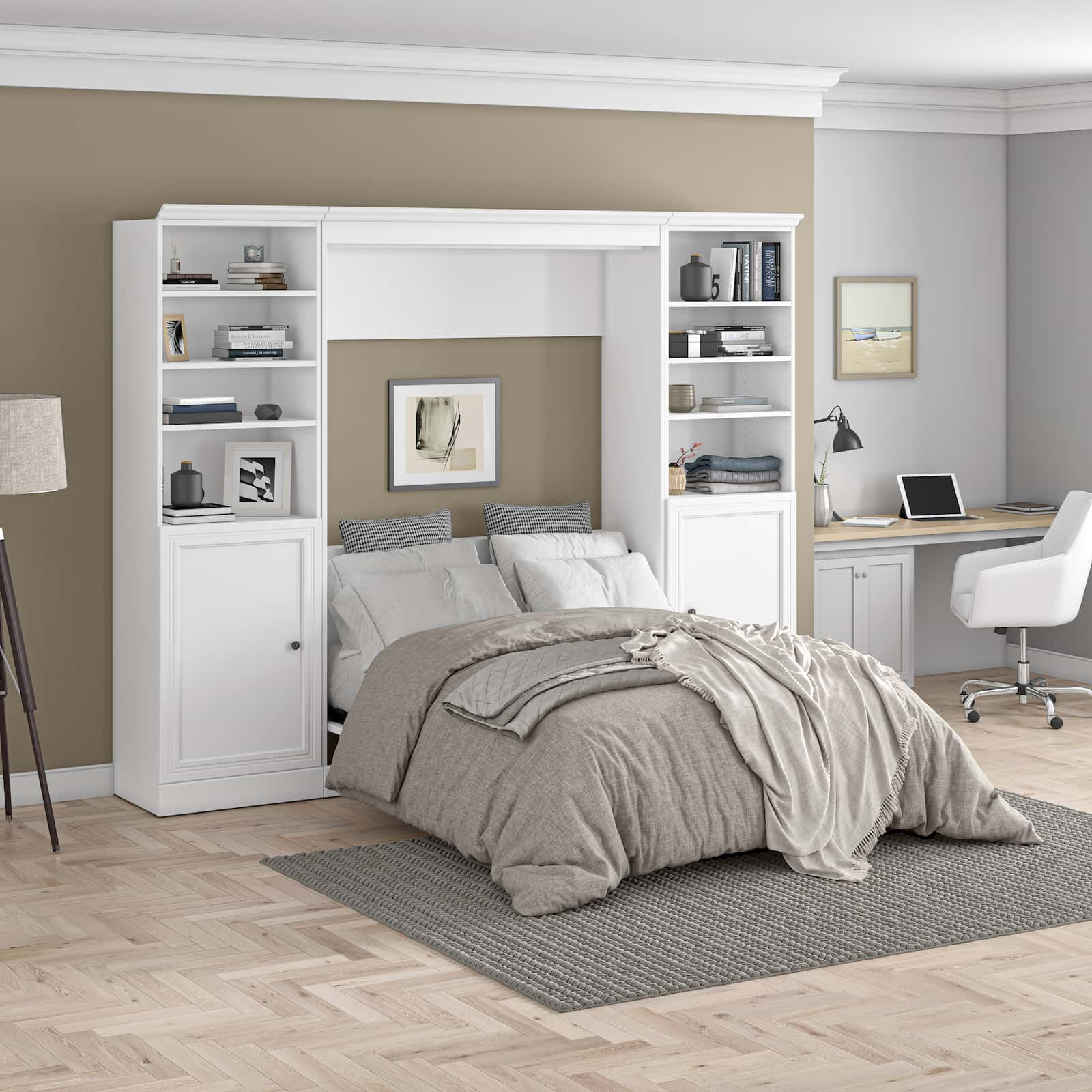 white murphy bed with side shelving units and small office furniture