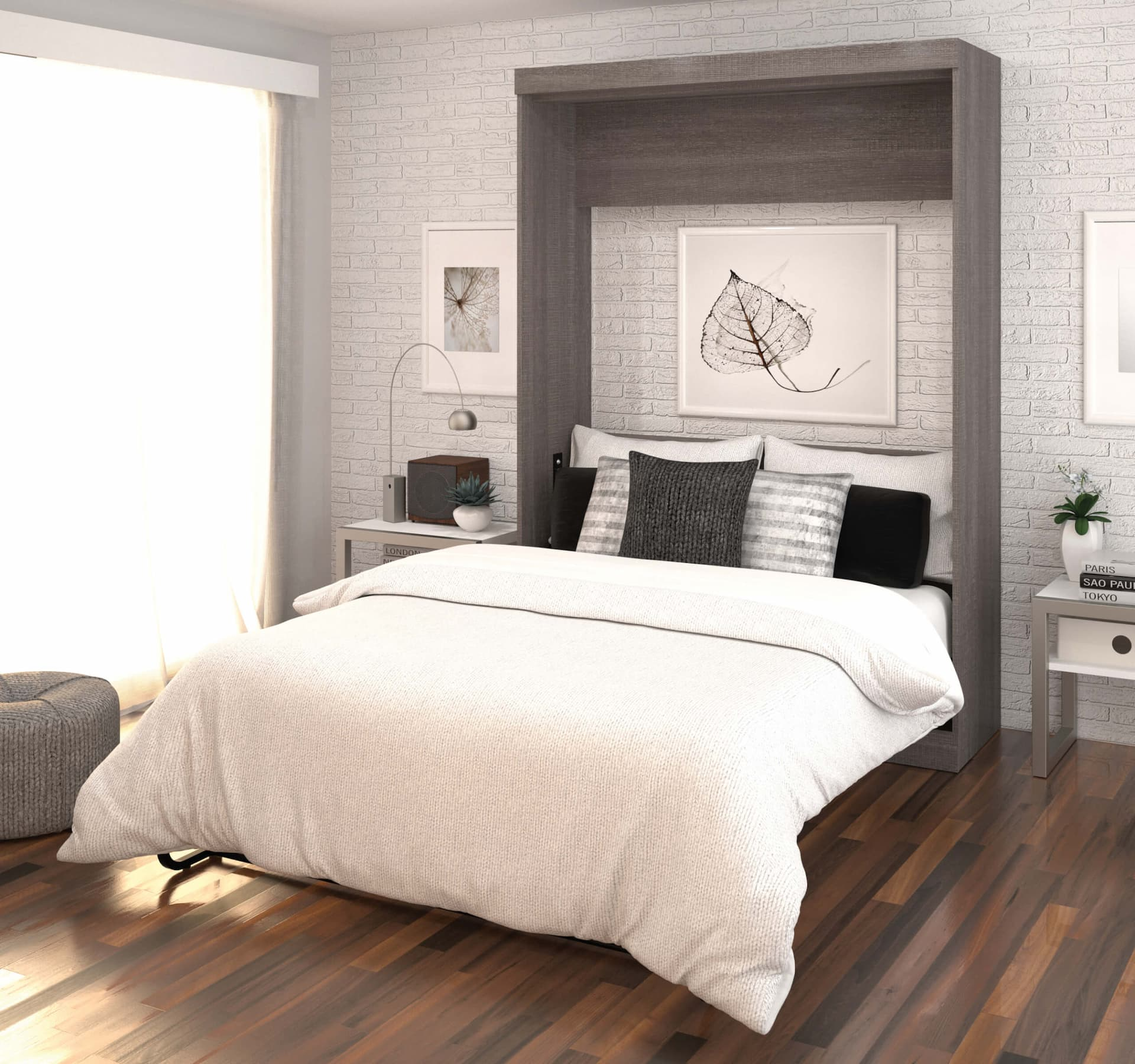 Guest bedroom with a practical Murphy bed
