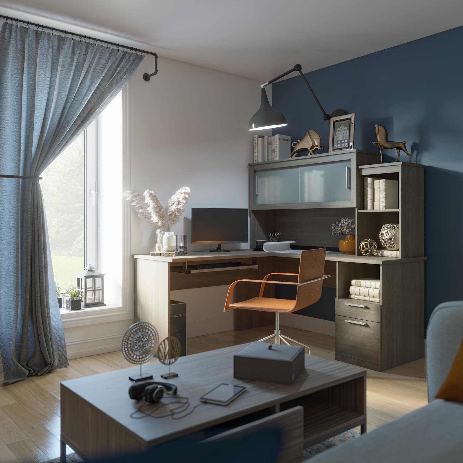 grey l shaped desk next to window with blue curtains