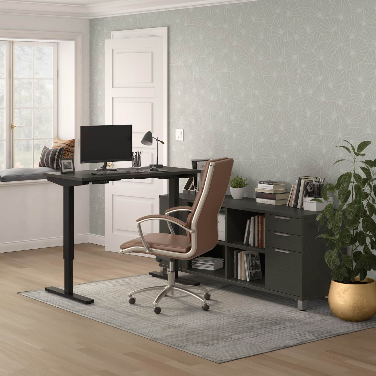 standing desk with credenza