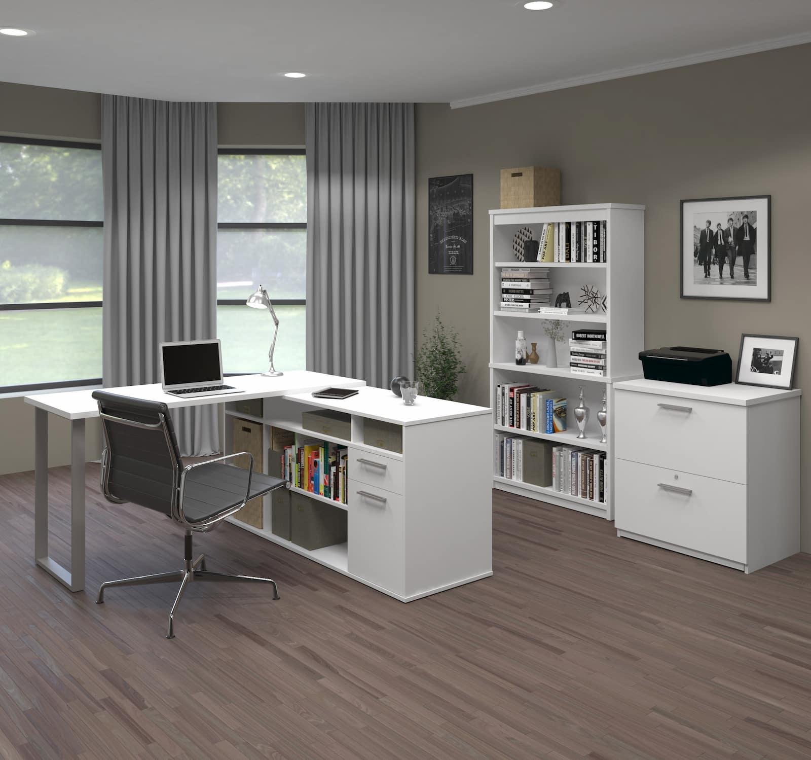 white table, credenza, bookcase and file cabinet