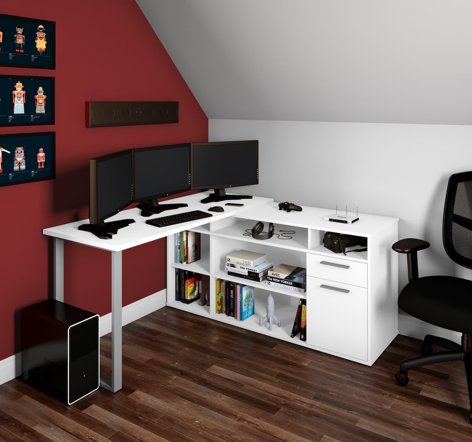 white table credenza and three monitors