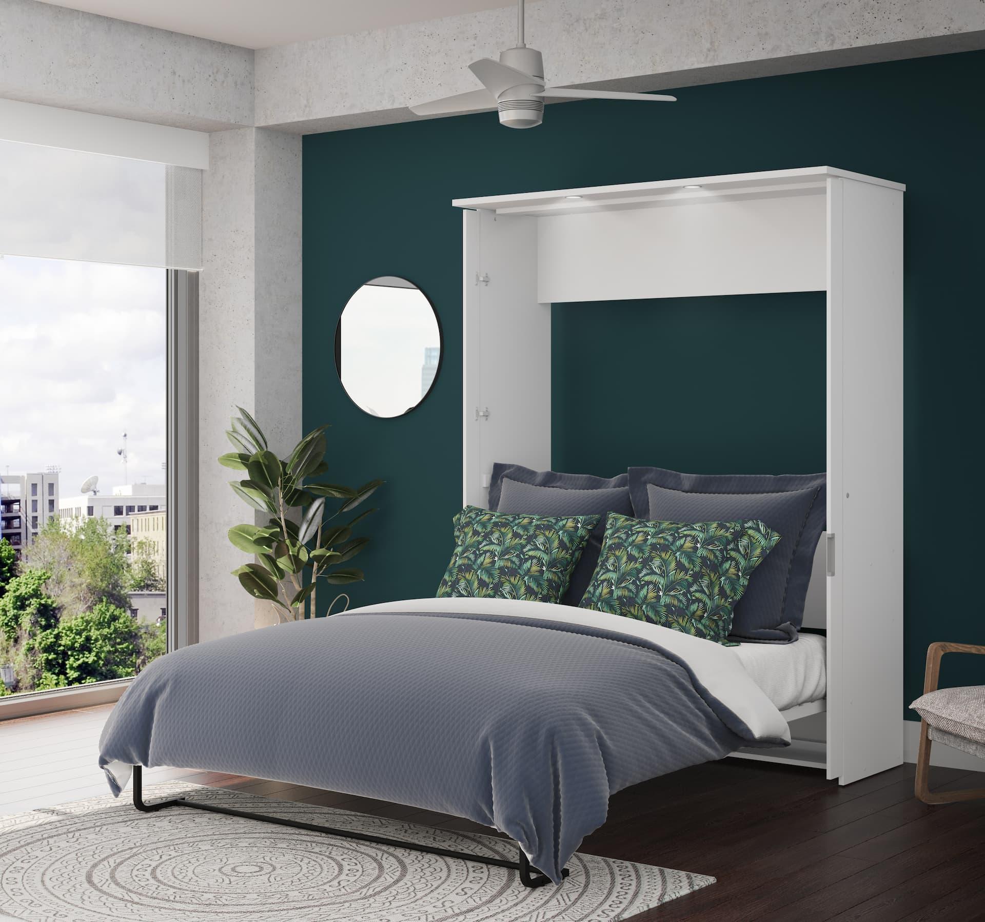 Magnifique chambre avec mur d'accent turquoise